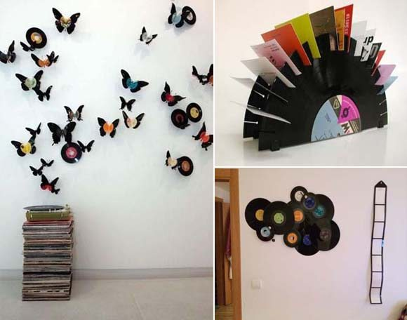 Ideas for decorating the house with vinyl records.