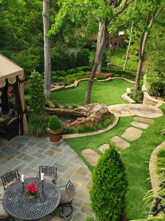 Large modern garden with lawns, flowers and greenery