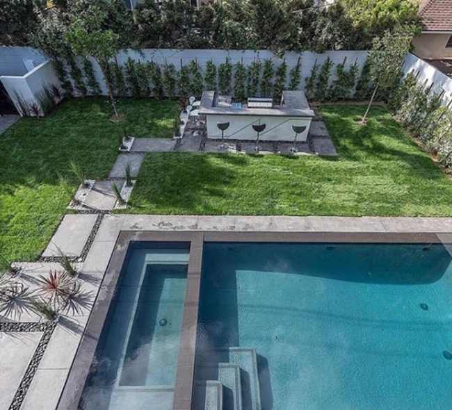 Large modern garden with pool