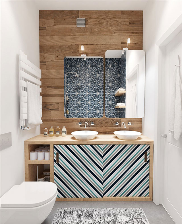 White and wooden bathroom