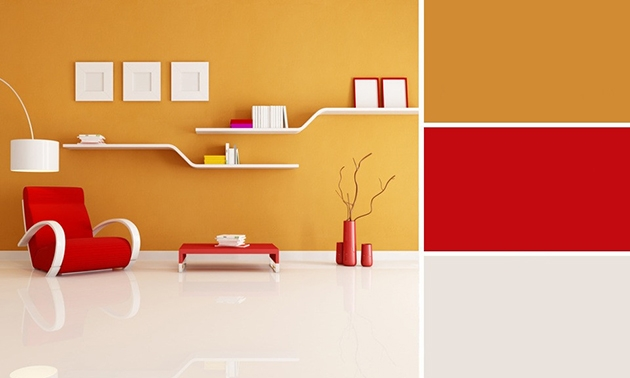 Mustard color combined with red color