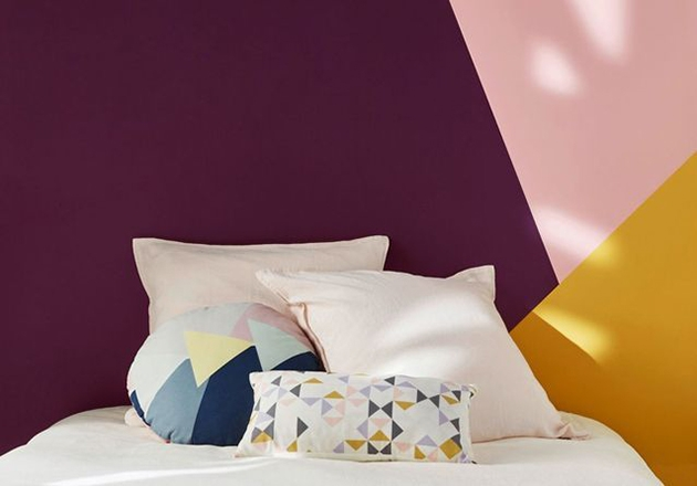Mustard color combined with purple color of the walls