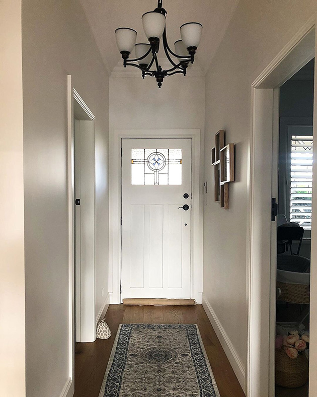 Hallway painted in gray and white
