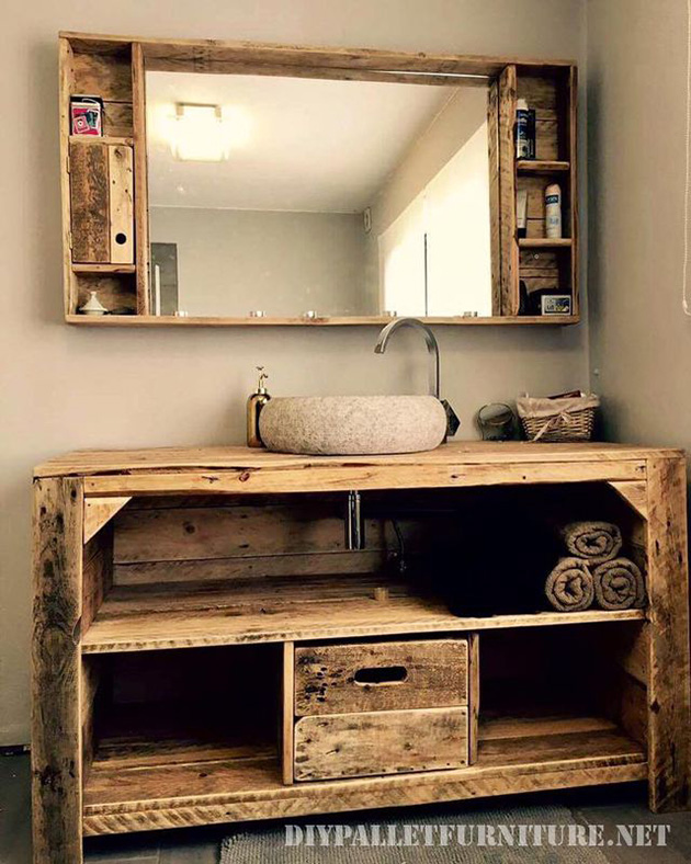Bathroom cabinet made of wooden pallets.