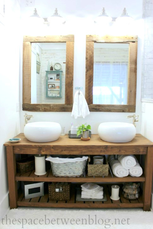 Rustic, handmade bathroom cabinet with two dishes.