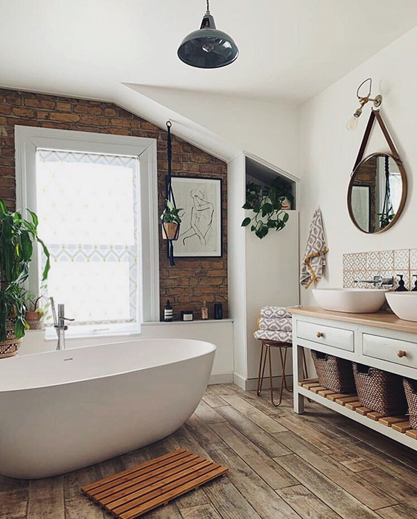 White and wooden bathroom.  The bathroom you are looking for is here