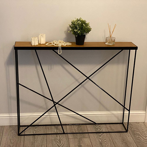 15 cm narrow console in industrial style made of ferrous metal and wood