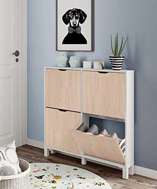 Narrow shoe rack in the hall, only 17 cm deep in white and wooden