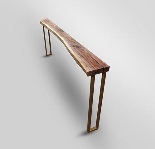 Wardrobe for consoles or narrow hallways made of pine wood and gold metal