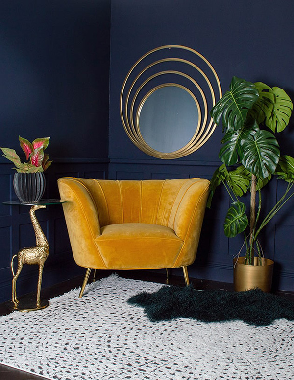 Colors combined with gold and gold: Dark blue