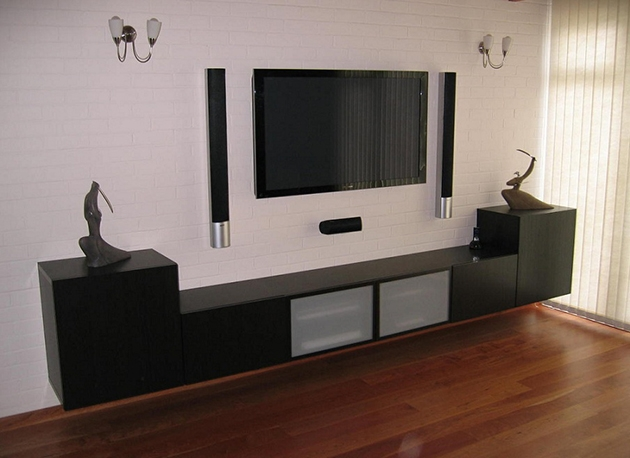 The idea for assembling the BESTA IKEA TV cabinet for the living room, in matte black