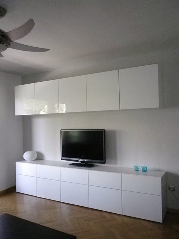 The idea for assembling BESTA IKEA living room furniture, in bright white