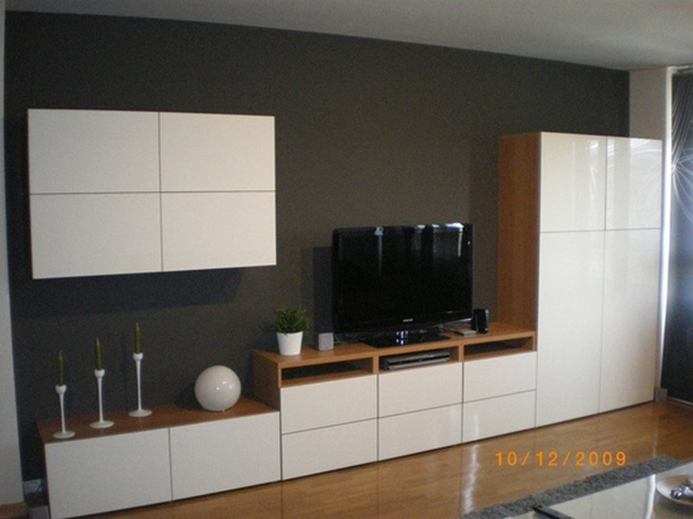 The idea for assembling BESTA IKEA living room furniture, in white with a wooden body