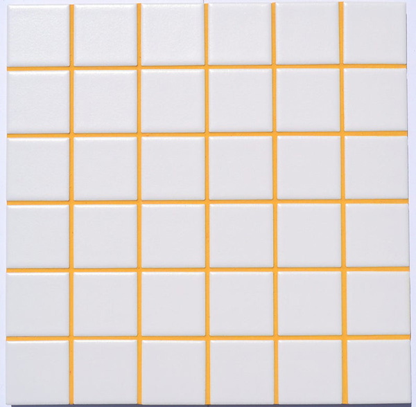 Joints of tiles for painting with orange plaster