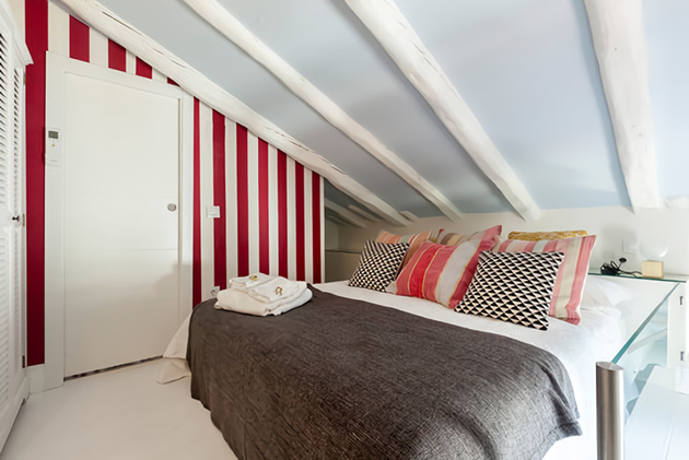 Small room in the attic with lots of color