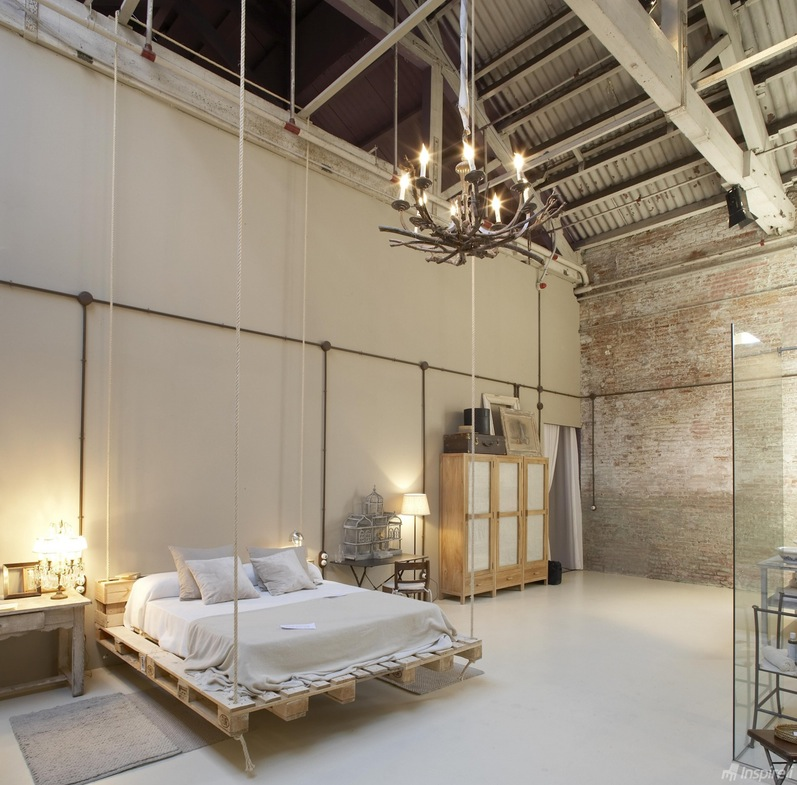 Hanging bed made of wooden pallets