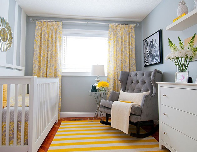 Colors that match gray.  Gray and yellow children's bedroom