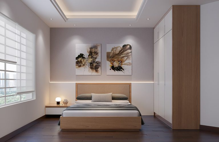 A bedroom that combines gray and wood