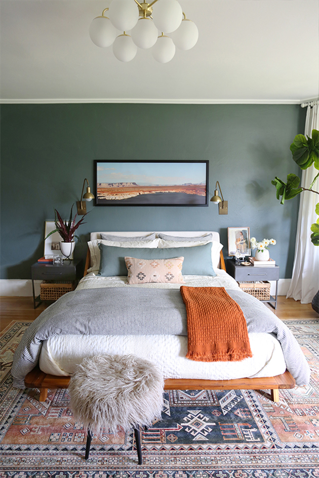 Relaxing gray-green painted bedroom