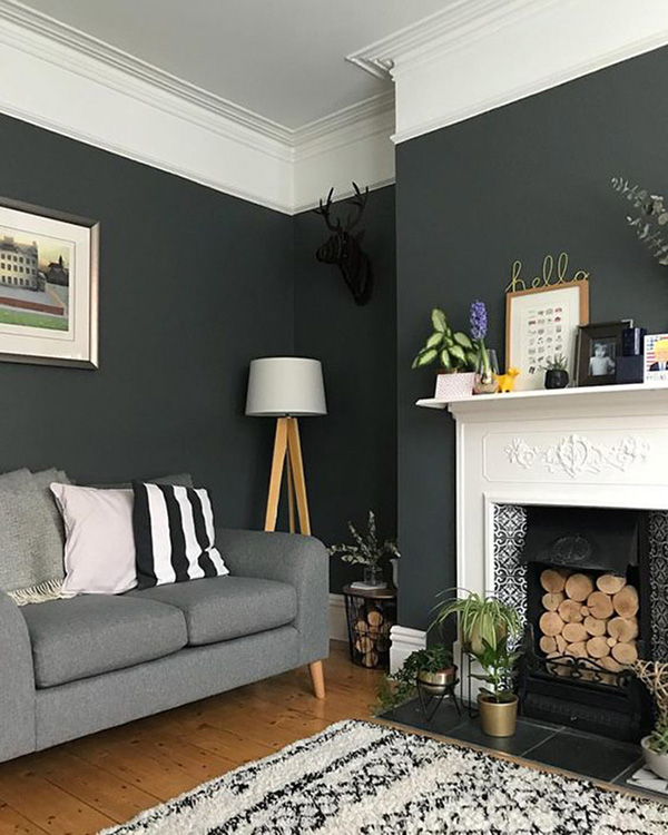 Living room that combines black walls with white