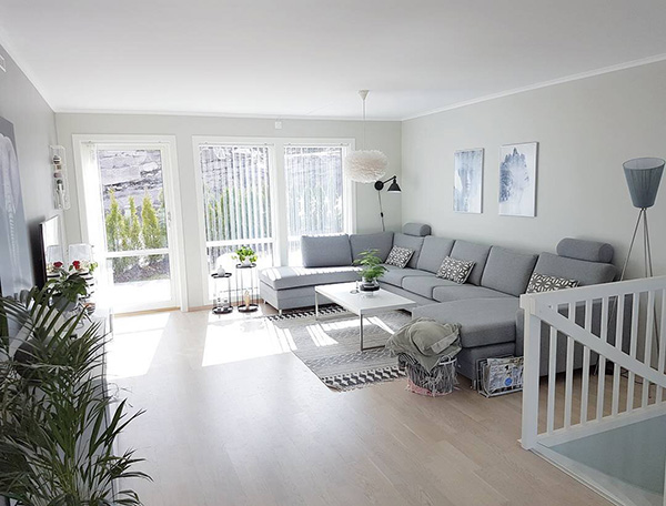 Living room painted in light gray