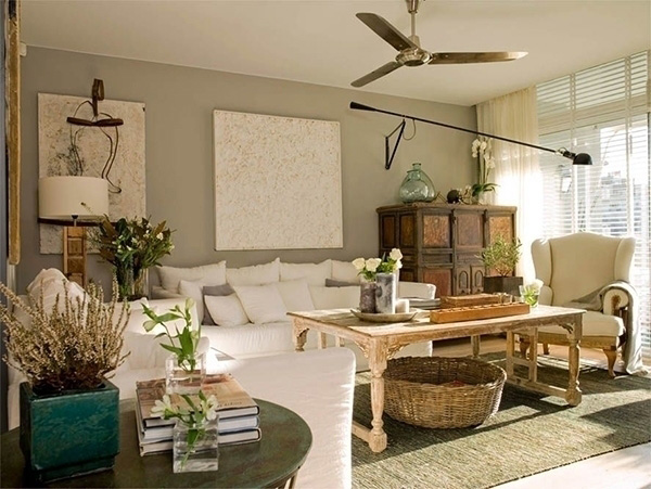 Living room painted in gray-green color