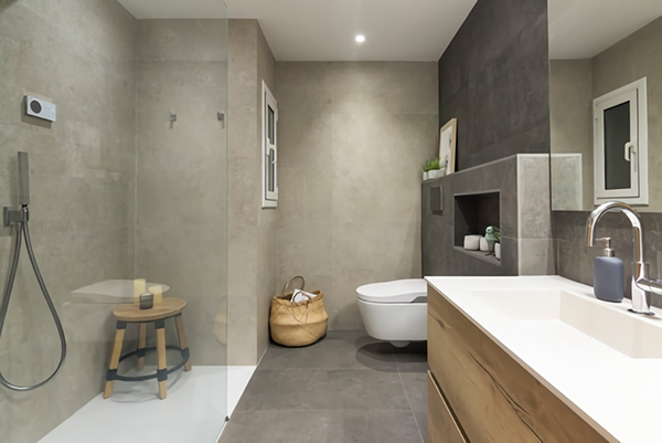 Bathroom finished with warm and cozy cement