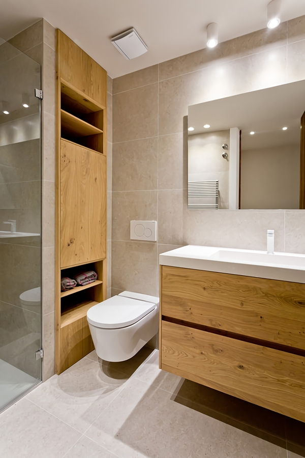 Modern bathroom in gray and wooden tones