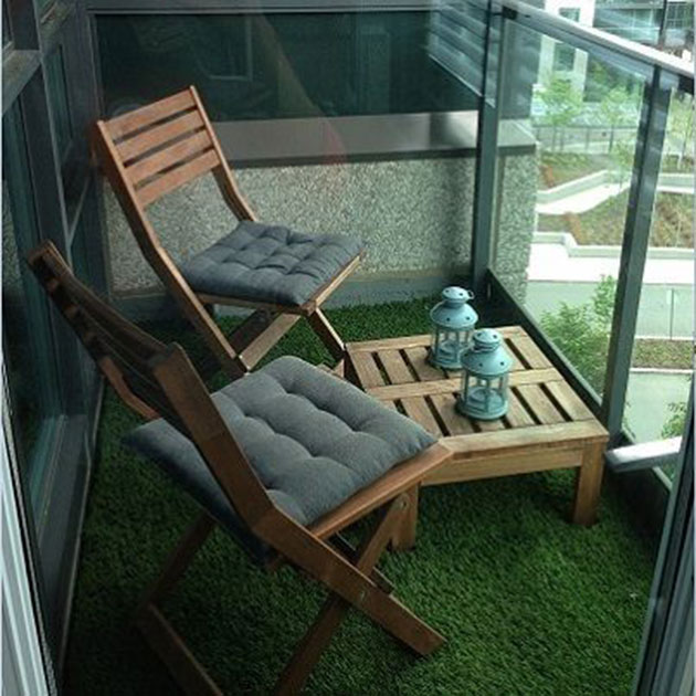 Terrace or balcony with artificial grass