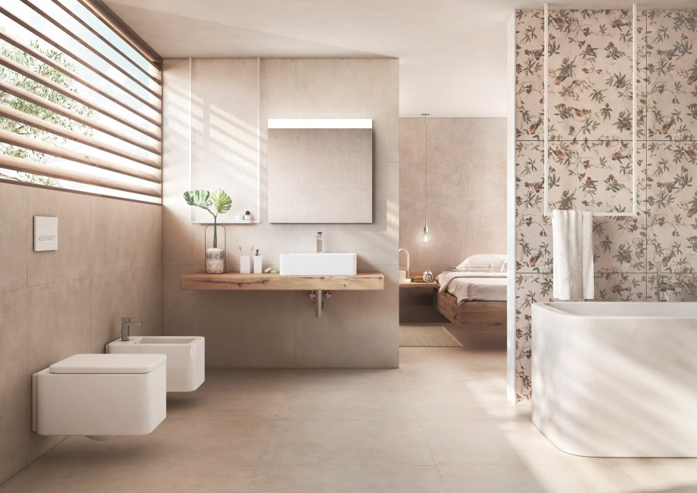 Bathroom with rectified tile by Roca