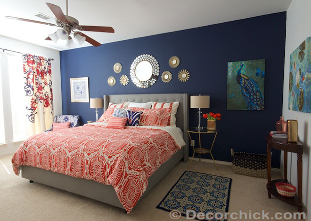 Coral and dark blue combination of decorations