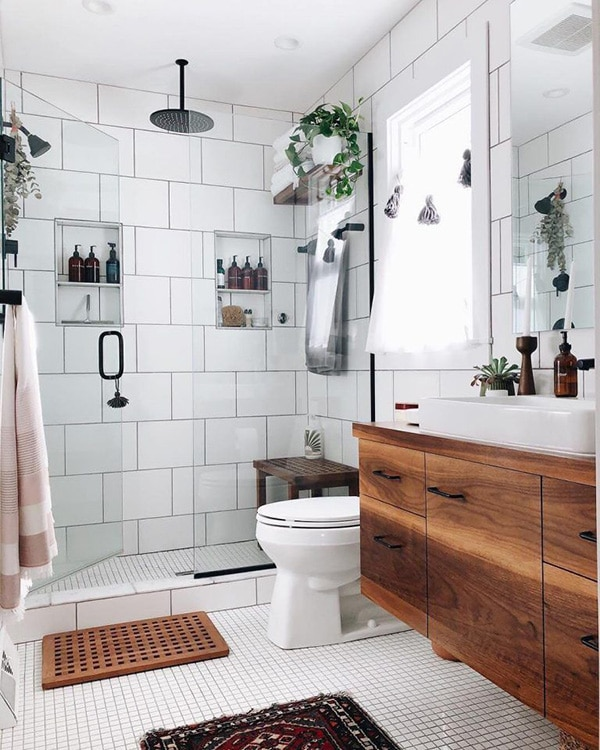 Tiles for small bathrooms.  Use these tiles to make the bathroom visually bigger