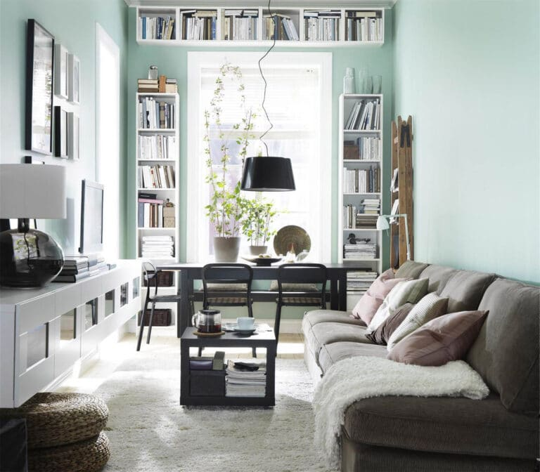 15 solutions for narrow and long living room: furniture and decoration