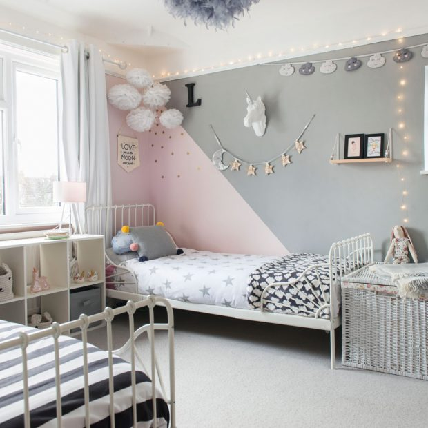15 color combinations for coloring a child's room: gray and pink