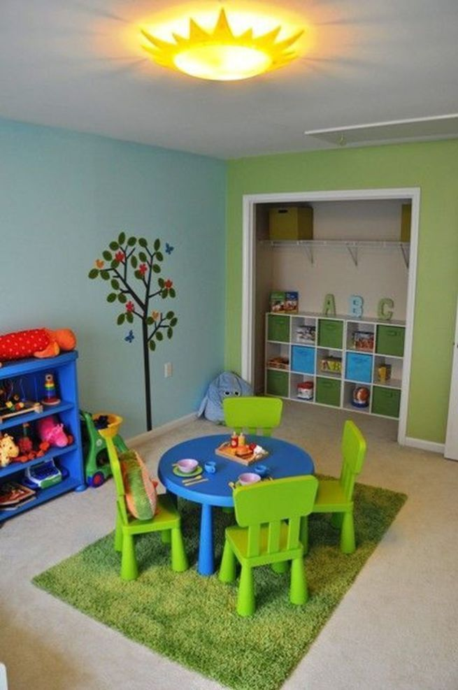 15 color combinations for coloring children's room: blue and green