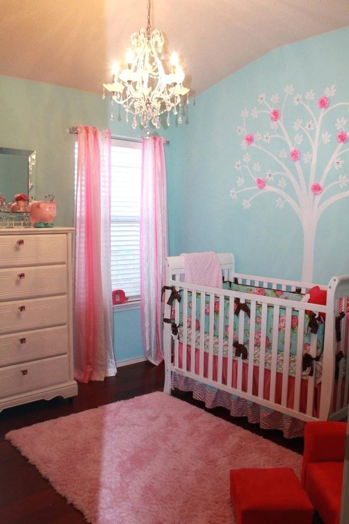 Children's room painted in blue and pink