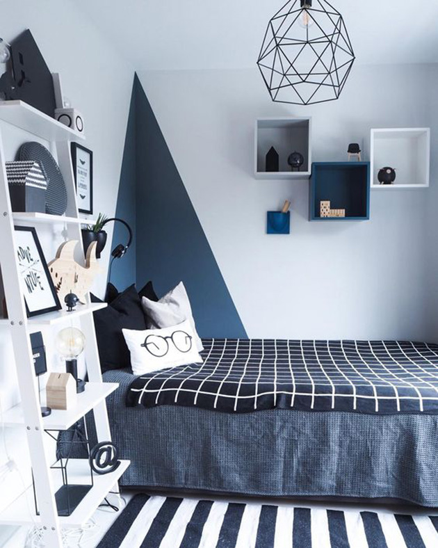 15 color combinations for coloring children's room: white and navy blue