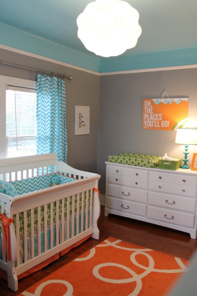 15 color combinations to paint a child's room: gray and blue
