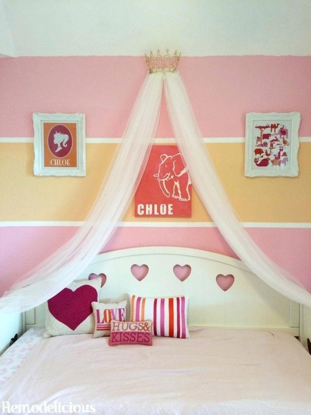 Children's room painted in pink and orange