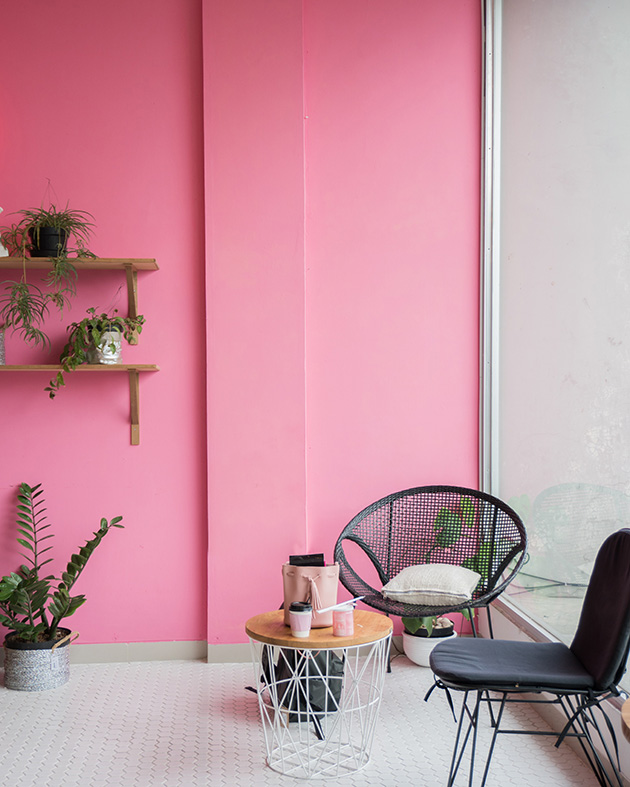 Pink color combined with gray tones