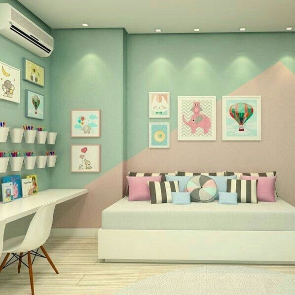 A room that combines pink and green on the walls