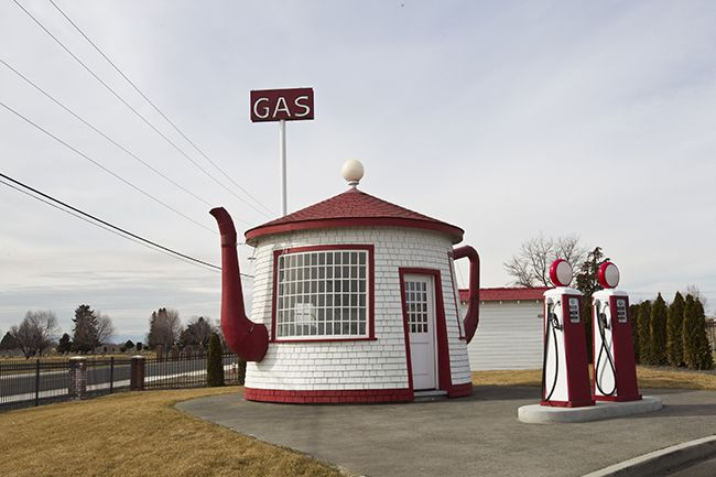 Boiler-shaped gas station in the United States