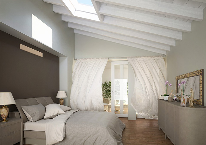 A bedroom that combines brown with gray walls
