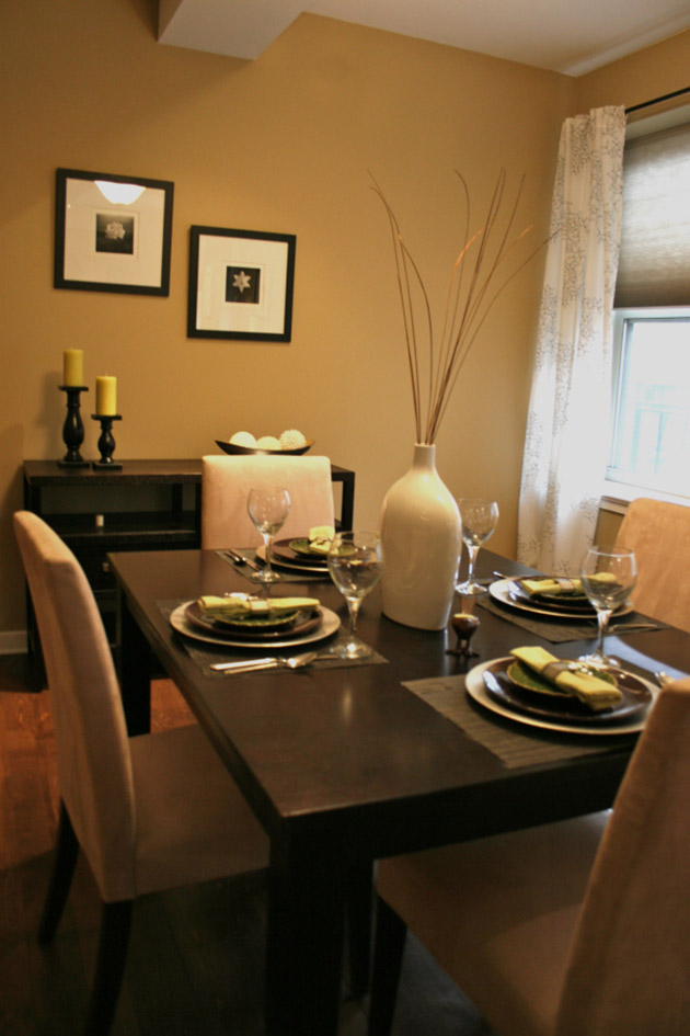 Dining room dyes: Dining room painted in warm brown