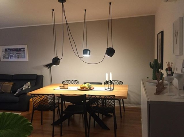Dining room colors: Dining room painted in grayish earth tones