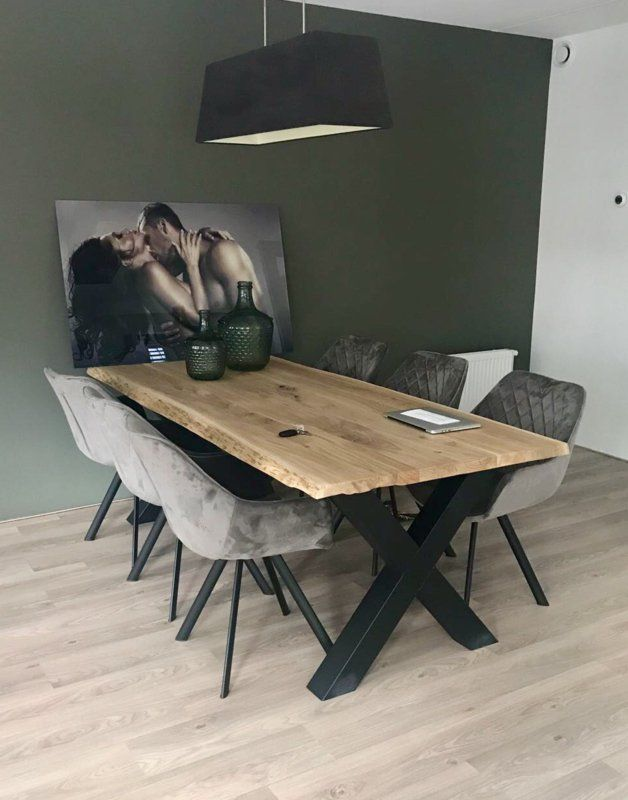 Dining room colors: Dining room painted dark green combined with white
