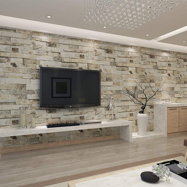 Decorative stone walls in the living room