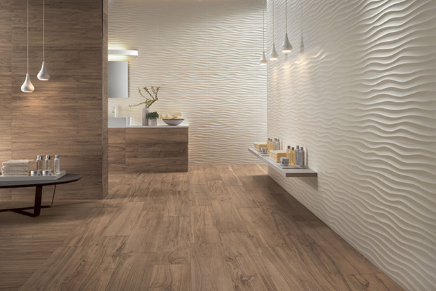Tileless bathroom decorated with 3D tiles