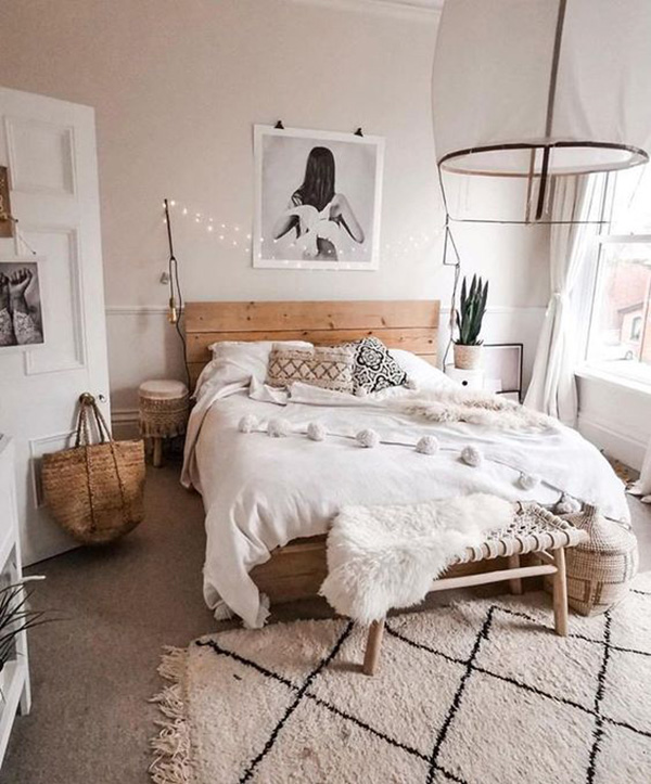 The bedroom is painted in gentle earth tones, warm and cozy