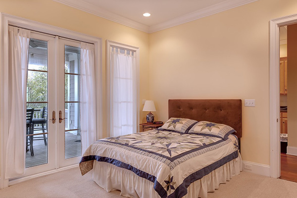 Bedroom painted in earth tones, warm and cozy